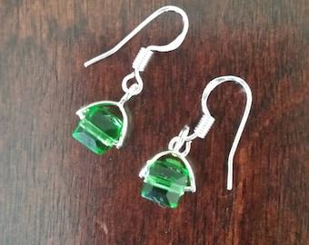 Crystal earrings, Cube earrings, Green earrings, Dangle earrings, Women's earrings, Gifts for her, Gifts under 20