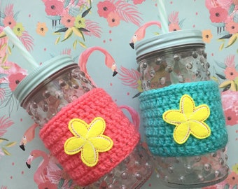 Plumeria Flower Crochet Coffee Cozy To Go Cup Cozy To Go Cup Teal Pink, Gift for Her, Coffee Lover