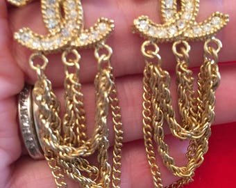 Vintage Chanel CC Diamonte & Tassle Earrings