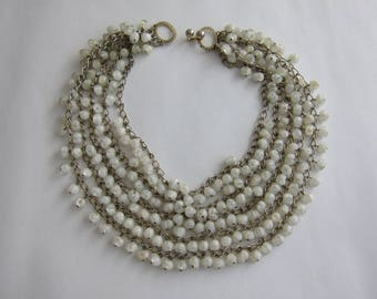 50's multi strand white lucite beaded necklace. Rare.