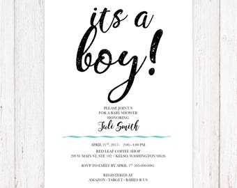 Its a Boy Baby Shower Invitation - Modern - Printable