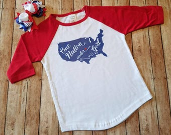One Nation Under God U.S. shirt! T-shirt! Raglan baseball style tee! Perfect for Independence day! Red, white and blue! 4th of July!