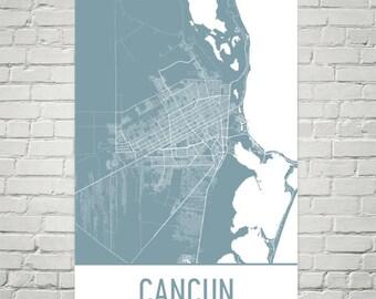 Cancun Map, Cancun Art, Cancun Print, Cancun Mexico Poster, Cancun Resorts, Mexican Gifts, Map of Mexico, Mexico Poster, Mexican Wedding