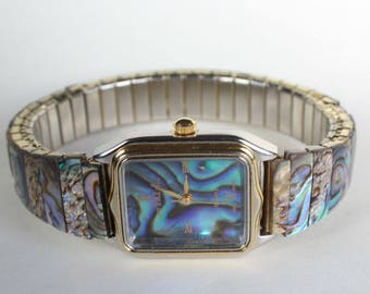 Natural Real Abalone Shell Watch  Band Dial Timepiece Gift for Her Gemstone Lover Birthday Quartz