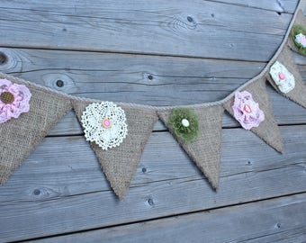Bunting burlap flowers with lace and buttons, vintage style. Green wall decor, unique model.