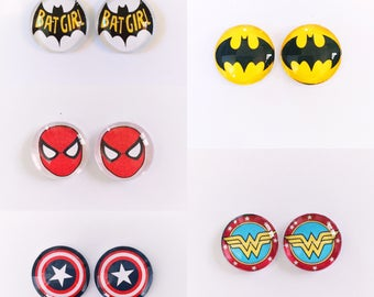 The 'Superhero Collection' Glass Earring Studs