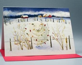 Greeting card you light me sheep F-003
