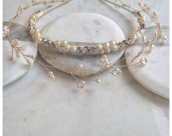 Natural Freshwater Pearl and Glass Crystal Garland Headband Set
