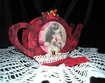 Vintage Tea towel with red rose