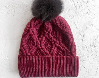 Gift for women, Valentines Day Gift, Knit Hat with Pom, Women Winter Hat, Beanie Hat with Pom, Wool Hat, Red Hat with Pom