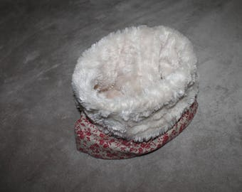 Snood faux fur and fabric flowers