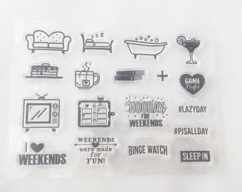 Weekend Stamp Set// I love Weekends Planner Stamps//Scrapbook Stamps