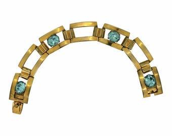1940s Aquamarine Rhinestone Vintage Bracelet