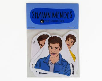 SHAWN MENDES , 6 piece sticker set, Shawn Mendes stickers, Shawn Mendes sticker set, Shawn Mendes sticker pack, Shawn Mendes gift