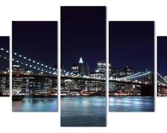 5 Panels New York City Bridge Canvas Art Multi Grouped Art Work