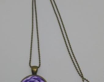 Purple fimo Rose cameo necklace
