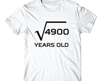 Square Root Of 4900 Funny 70 Years Old 70th Birthday T-Shirt