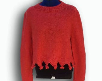 Hand knit red cropped sweater