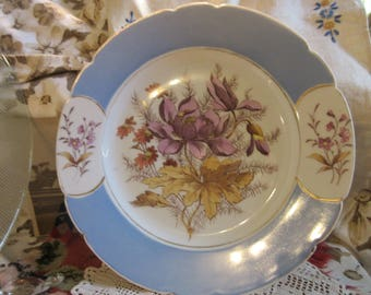 1880's antique handpainted  china plate, beautiful floral design, no marking, excellent condition, purple/mustard flowers, blue border,