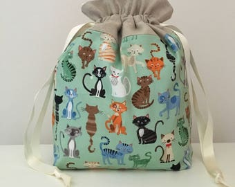 Knitting bags / knitting bag / crochet bag / project bag - cats
