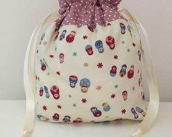 Knitting bag / knitting bags / crochet bag /  project bag -  Russian doll
