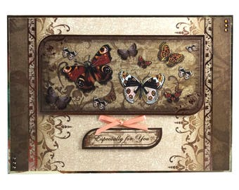 Especially for you, decoupage card, any occasion card, butterflies, beautiful art