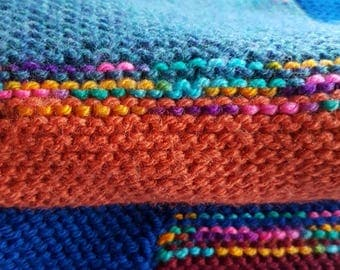 Warm Knitted Blanket - Colourful