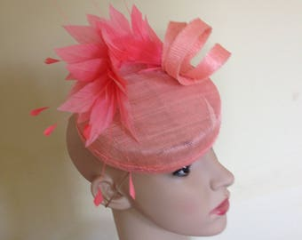 Ascot Hat,Pretty Flamingo colour hat,Wedding Hat,Ascot Hats,Wedding Hat Peach,Pillbox Hat,Wedding Hats,Race Day Hat,Ascot Pillbox,Pretty Hat
