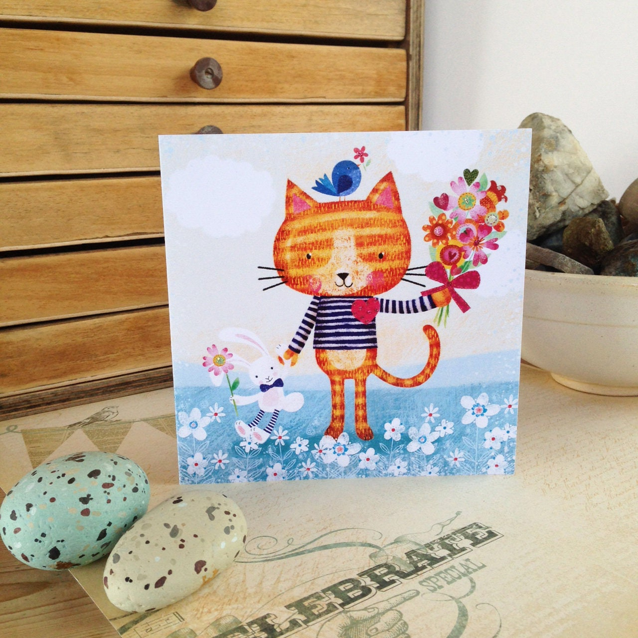 Cat With Flowers Greeting Card Lovely Design Printed From My