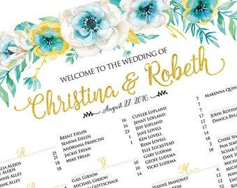 Wedding Seating Chart Poster, Wedding seating chart alphabetical, Wedding Seating Chart, Printable Wedding Seating Chart - US_WC0501