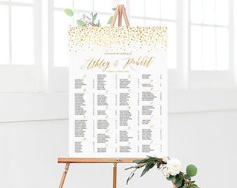 Wedding seating chart, Wedding seating chart alphabetical, Wedding decorations, Seating chart template, Gold Seating chart, Polka dot