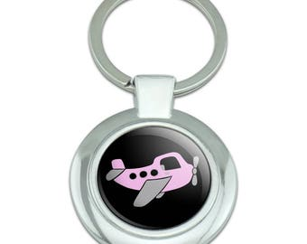 Pink Plane Airplane Classy Round Chrome Plated Metal Keychain