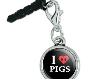I Love Pigs Heart Snout Mobile Cell Phone Headphone Jack Anti-Dust Charm fits iPhone iPod Galaxy