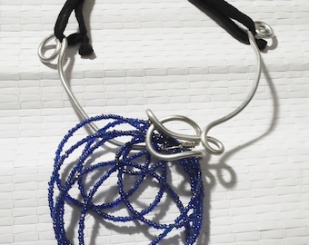 Aluminium Necklace and Blue beads