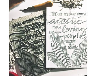 """Vincent Van Gogh Quote Print -  """"There Is Nothing More Artistic Than Loving People"""""""