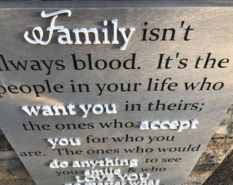 Family Isn't Always Blood Sign - Wooden Cutout Letters - Celebrate Adoption - Step Family - Foster Family