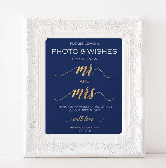 Photobooth Sign Template - Navy and Gold Wedding Sign - Photobooth Sign Instant Download - Simple Wedding - Downloadable wedding #WDH81NGA95