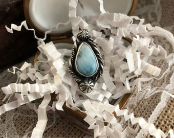 Larimar sterling silver ring. Size 5 3/4 US. Handmade sterling silver ring.