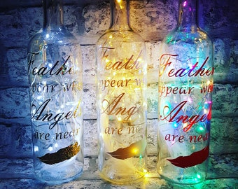 Light Up Wine Bottle With Angel Quote White Feather. Personalised Message on a bottle, fairy lights bottle, wine bottle vinyl wall quote