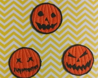 """ON SALE Pumpkin Patch - Set of three 2""""x2"""" Patches"""