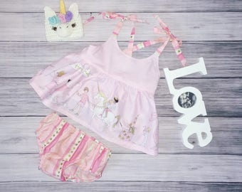 Baby girls unicorn birthday dress and diaper cover, baby girl dress, girls birthday outfit, unicorn birthday party, unicorn outfit, dress