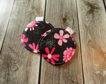 Washable nursing pads, Maternity, Reusable Breasts pads, Pink flowers