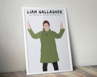 Liam Gallagher Oasis A3 Print, Liam G Wall Art Home Decor Live Forever Poster