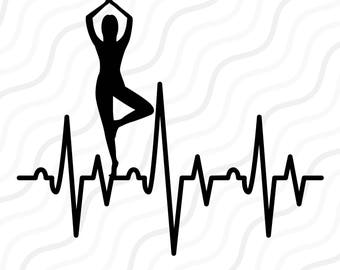 Yoga Heartbeat SVG, Yoga SVG, Heartbeat SVG Cut table Design,svg,dxf,png Use With Silhouette Studio & Cricut_Instant