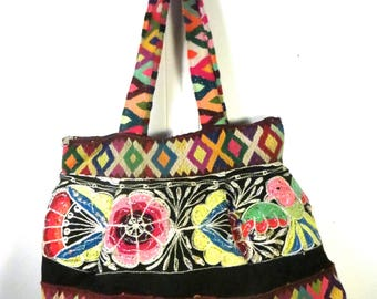 COLORFUL BOHO PURSE: Antique hand-woven Pervuian wool trims, all natural dyes; hippie chic colorful bag, le sac bobo,