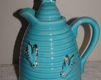Vintage Made In U.S.A. Blue Beehive Swirl Painted Bees Honey Syrup Jar