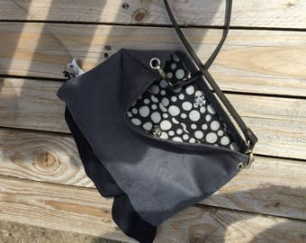 Bag pouch, suede, grey and black, vintage