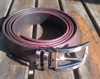 brown leather belt silver buckle, adjustable length, handmade, high quality