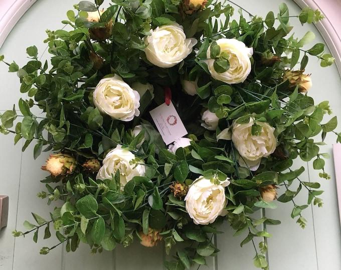 Last one *** Gorgeous eucalyptus, white peony and ivory thistle door wreath