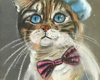 Cat Artist soft pastel drawing